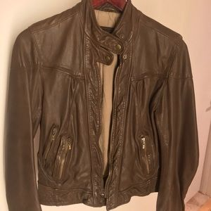 Cole Haan lambskin leather jacket in Cocoa, NWOT